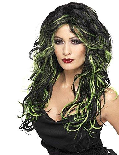 Gothic Vampir Braut Perücke schwarz grün (Schwarze Vampirin-perücke)