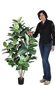 Ficus Elastica - Artificiale H. 150 cm - Verde- con Vaso