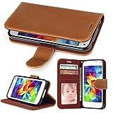 Galaxy S5 Mini Hülle, SOWOKO Leder Etui Flip Case Handyhülle für Samsung Galaxy S5 Mini Brieftasche Tasche mit Integrierten Kartensteckplätzen/ Ständer /Magnetverschluss, Braun