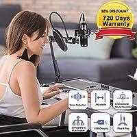 PC Microphone wowatt Podcast Microphone USB Cardioid Condenser Microphone Bundle USB Microphone Kit For Computer Recording Studio Broadcasting Gaming Streaming Youtube Karaoke TikTok Skype Plug & Play