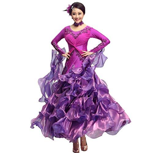 Färbung Kostüm Tanz - Wettbewerb Kleider Für Frauen Moderner Tanzrock Ballsaal Tanz Kleid Walzer Tango Tanzen Performance Kleidung Lange Ärmel, Purple, XXL