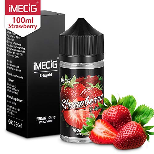 IMECIG® Erdbeere Premium E Liquid Vape Eliquid für E Zigaretten/Elektrische Zigarette/E Shisha,Erdbeere Früchte Geschmack, VG/PG 70/30 -ohne Nikotin,100ml,1 Stück(MEHRWEG-VERPACKUNG)