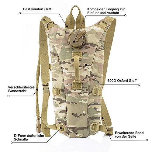 Risefit Military Hydration Rucksack Trinkrucksack mit 2.5L Trinkblase, Trinksystem Fahrradrucksack für Wandern, Radfahren, Joggen, Camping, Verschiedene Färben Gewählt CP Camouflage