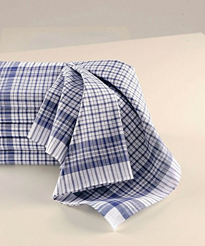 Mouchoirs de Travail Carreaux Bleu et Blanc (Lot de 12)