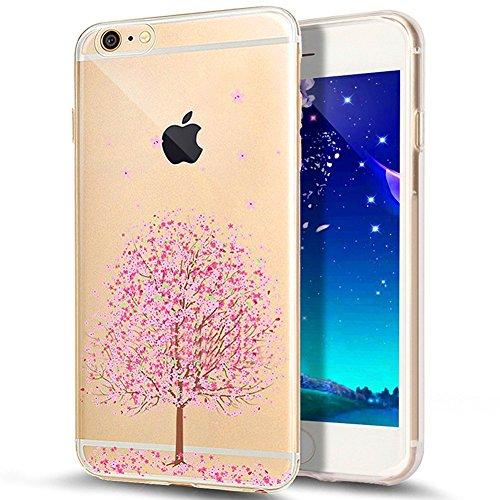 iPhone 7 Hülle,iPhone 7 2016 Hülle,JAWSEU Luxus Silber Klare Ultradünne Silikon Gel Schutzhülle Durchsichtig Kristall Transparent TPU Silikon Bumper Schutz Handyhülle Case Tasche Etui für iPhone 7 4.7 Kirschblüte#8