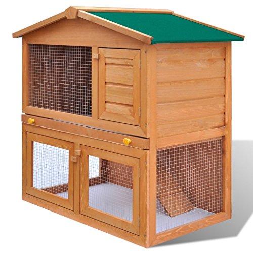 Festnight gabbia coniglio all'aperto per piccoli animali domestici 3 porte legno