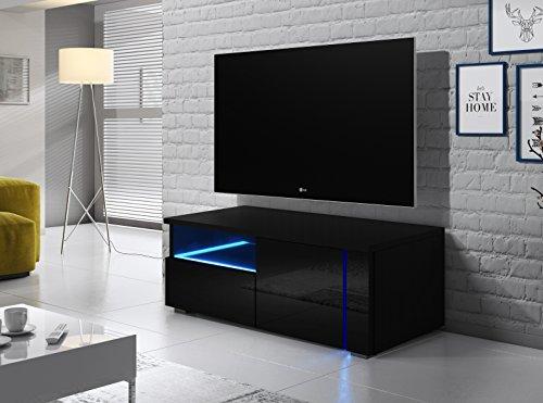 Oxy Single - Meuble TV TV/TV / Meuble TV/Meuble TV avec tiroirs et Compartiment Ouvert sur Le côté Gauche (100 cm) Noir avec éclairage LED