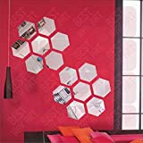 Best Décor Hexagon Silver(pack Of 14)Acrylic Sticker, 3D Acrylic Sticker, 3D Mirror, 3D Acrylic Wall Sticker, 3D Acrylic Stickers For Wall, 3D Acrylic Mirror Stickers For Living Room, Bedroom, Kids Room, 3D Acrylic Mural For Home & Offices D&ea