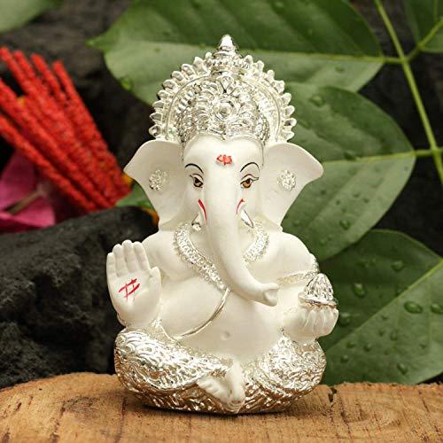 ed Ceramic Lord Ganesha Figurine for Car Dashboard and Rakshabandhan Set (3.5 x 2inches) ()
