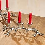 GILDE Kerzenständer Geweih aus Aluminium für 3 Kerzen, 11x15x38 cm, Silber