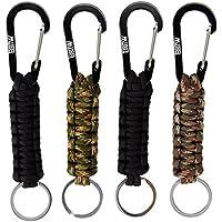 EOTW 4 Pack Corde Tressée avec Porte-clés et Mousqueton, Porte clefs très pratique, Idéal pour la rando et le bushcraft