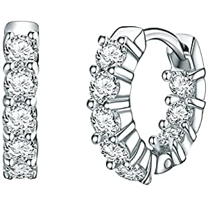 Rafaela Donata - Créoles avec fermetures à charnière - Argent sterling 925 oxyde de zirconium, boucles d'oreilles oxyde de zirconium, bijoux en argent - 60832017