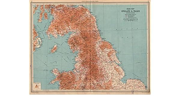 Map Of England Motorways.England Wales North Road Map A B Roads Pre Motorways Large