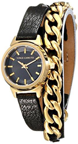 Vince Camuto - VC-5220GPBK - Montre Femme - Quartz - Analogique - Bracelet Cuir noir