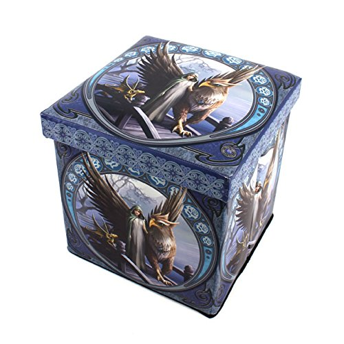 "Price comparison product image Anne Stokes ""Realm of Tranquility - Griffin"" Storage Box Chest with Padded Lid Seat - Folds Flat to Stow"