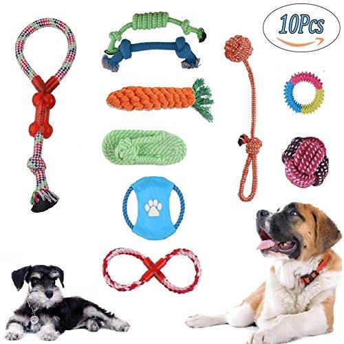 Hund Seil Spielzeug,10 Set Pet Rope Toys Spielzeug Geschenk-Set Hund kauen Spielzeug Welpen Zhne Reinigung Non-Toxic Tasteless Sturdy Durable Geeignet für kleine und mittelgroe Hunde (Hundespielzeug, China)