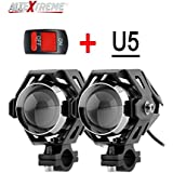 Allextreme U5 Cree Led Driving Fog Light Fog In Aluminum Body For All Motorcycles, Atv And Bikes With Switch (15W, Pack Of 2)
