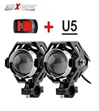 #7: AllExtreme U5 CREE LED Driving Fog Light Fog in Aluminum Body for All Motorcycles, ATV and Bikes with Switch (15W, Pack of 2)