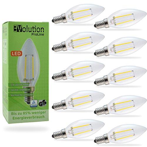 Evolution® E14 3W 350LM | Filamento LED lampadine a incandescenza | Lampada 230V AC 270 ° | Sostituzione 20-25W | Lampade E14 bianco caldo | Set di 10