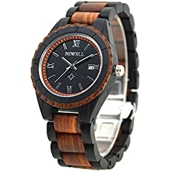 Bewell Wristwatch for Men Red Sandalwood Long-Life Battery Quartz Watch Wood Wrist with Wooden Box