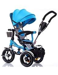 Bicicleta para niños Niño de interior al aire libre Pequeño triciclo bicicleta Boy's Bike Girl's Bike para 6 meses -5 años de edad bebé tres ruedas Trolley con toldo, rueda inflable / asiento giratorio Carrito de bebé ( Color : #5 )
