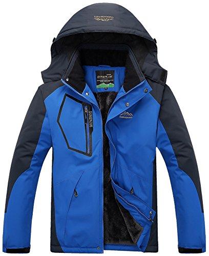 Mochoose Herren Outdoor Mountain Wasserdichte Windbreaker Jacken Fleece Ski Snowboard Kapuzenjacke Sportbekleidung Regenmantel Camping Angeln Jagd Arbeitsjacke Saphirblau
