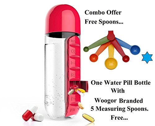 """Woogor Medicine Organizer Water Bottle With Removable 7 Days Pill Compartments & 600 ml Water Bottle with Drinking Cup, With """"Woogor"""" Branded 5 Measuring Spoons Free. ( Random Color)."""