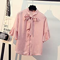 LGK&FA Female Short Sleeved Blouse With Lotus Leaf Sleeve Bows Shirt L Pink