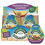 Robinsons SQUASH'D, No Added Sugar, Real Fruit, Passion Fruit & Mango, Makes 20 Drinks Per Pack, 6 Packs