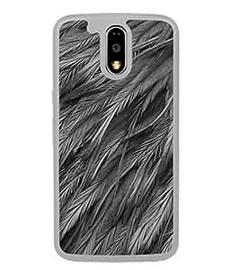 PrintVisa Designer Back Case Cover for Moto G Play (4th Gen) :: Motorola Moto G4 Play (Feather Wings Leaf Black&White Gray)