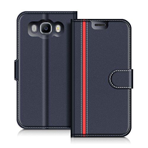 COODIO Handyhülle für Samsung Galaxy J7 2016 Handy Hülle, Samsung Galaxy J7 2016 Hülle Leder Handytasche für Samsung Galaxy J7 2016 Klapphülle Tasche, Dunkel Blau/Rot