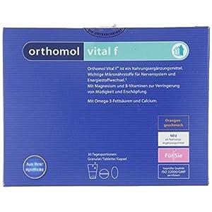 Orthomol vital f 30er Granulat, Tablette & Kapseln, Orange – Vitamin Komplex für Frauen bei Müdigkeit & Erschöpfung