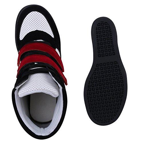 Sportliche Damen Basic Sneaker-Wedges Bequeme Sneakers Keilabsatz Schwarz Weiss Rot