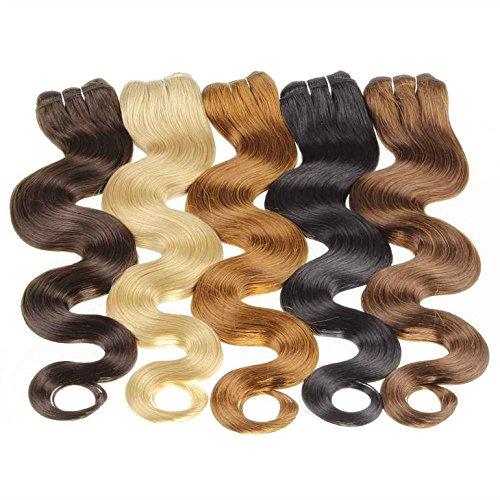 Hair2heart 100g Echthaar-Tresse - Gewellt - 70 Cm - #14 Dunkelblond - 100 Extensions Nähen Echthaar