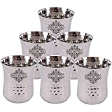 Indian Art Villa Set Of 6 Stainless Steel Hammered Glass Tumbler Cup