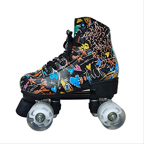 STBB Rollschuhe Graffiti Microfiber Rollschuhe Doppel Linie Skates Frauen Männer Erwachsene Zwei Linie Skating Schuhe Patinen Mit Weißen Rädern 39 Schwarz