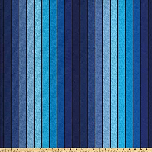 ABAKUHAUS Marine Gewebe als Meterware, Plaques in blauen Grenzen, Schön Gewebten Stoff für Polster und Wohnaccessoires, 1M (160x100cm), Hellblau und Dunkelblau -