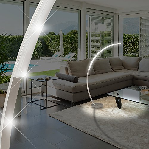 MIA Light LED Bogen ↥1500mm/ Design/ Silber/ Edelstahl/ Steh Bogenlampe Bogenleuchte Standlampe Standleuchte Stehlampe Stehleuchte
