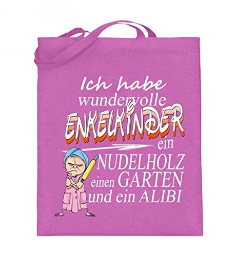 Hochwertiger Jutebeutel (mit langen Henkeln) - Oma Nudelholz Pink