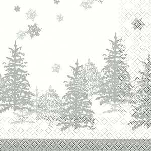 20 Servietten Tree and snowflakes - Bäume & Schneeflocken / Weihnachten / Muster 33x33cm