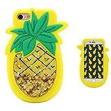 Mulafnxal Quicksand Pineapple Coque pour iPhone SE/5/5S/5C,Housses de téléphone,TPU Silicone Etui,Mignon 3D Cartoon Dessin Animé Animaux Souple Fille,Cute Kawaii Kids Girls Case Cover pour iPhone5
