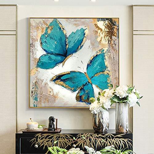 tzxdbh 100% Dipinto a Mano Astratto Moderno Blu Farfalla Arte Pittura a Olio su Tela Wall Art Pittura murale per Live Room Home Decoration-in da (60X60cm) 24X24 Pollici A