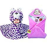 BRANDONN FASHIONS Newborn Combo Of 2 Premium And Soft Furry Hooded Baby Blanket And Sleeping Bag(Pack Of 2)