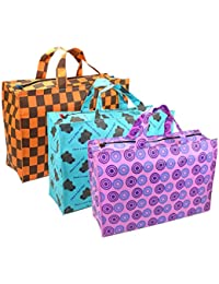 3 Pack Eco Friendly Printed Non Woven Grocery Bag Shopping Bag With Zipper – Multi Colour And Design
