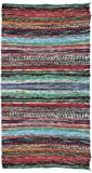 Exotic India Multi-Color Dhurrie with Woven Stripes All-Over - Pure Cotton
