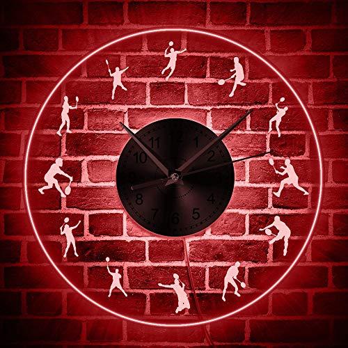 GZGJ Bádminton Iluminación LED Reloj Pared Acrílico