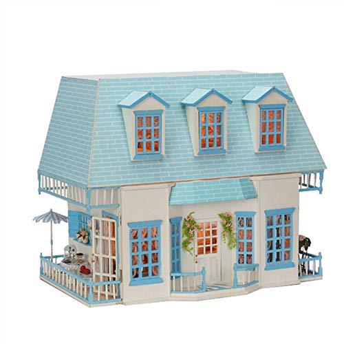 Sunshine Haus (DIY Dollhouse Kit & Toys, 3D-Holzpuppen Haus Möbel (Music Movement + LED-Licht), Handmade Doll House Creative Birthday Gift, Sunshine Island)