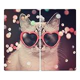 DekoGlas Herdabdeckplatten Set inkl. Noppen aus Glas 'Katze mit Brille', Herd Ceranfeld Abdeckung, 2-teilig universal 2X 52x30 cm
