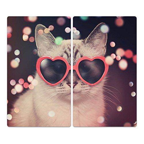 DekoGlas Herdabdeckplatten Set inkl. Noppen aus Glas \'Katze mit Brille\', Herd Ceranfeld Abdeckung, 2-teilig universal 2X 52x30 cm
