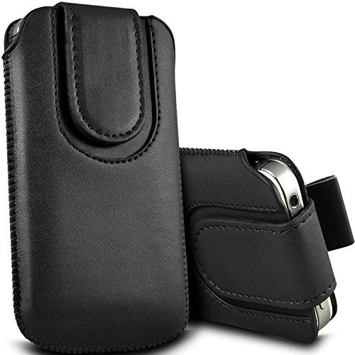 Brun/Brown - Nokia Lumia 520 Housse et étui de protection en cuir PU de qualité supérieure à cordon avec fermeture par bouton magnétique et stylet tactile pour par Gadget Giant® noir